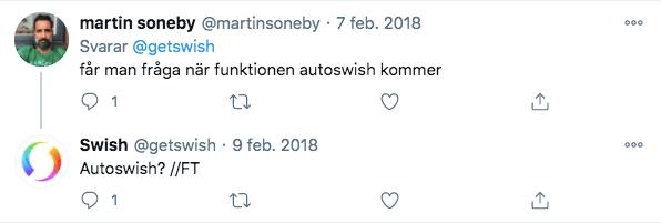 Twittrare ville ha AutoSwish redan 2018